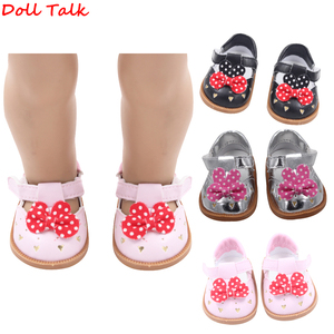 "7cm Fashion Baby Doll Shoes Leather Shoes With Bow-knot For 1/3 BJD 18"" American Doll Fit 43cm Dolls Baby New Born Accessories(China)"