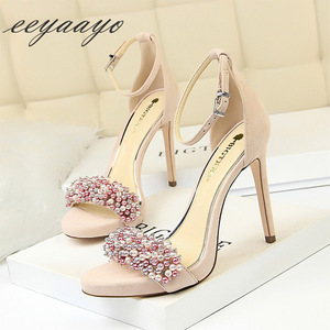 Image 1 - 2019 New Summer Women Sandals High Thin Heel Buckle Solid Pearl Fashion Sexy Ladies Women Shoes Pink Female High Heels Sandals