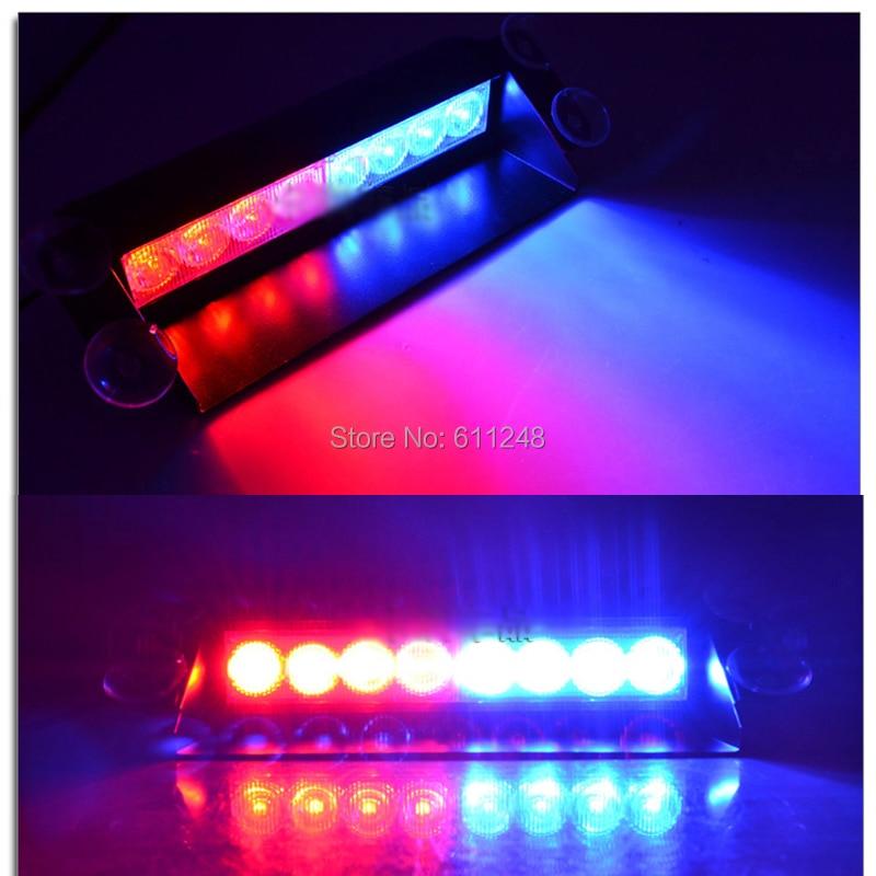 8 LED Strobe Flash Warning EMS Police Car Light Flashing Firemen Fog 8 LED High Power Red and Blue Running Lights led 12v