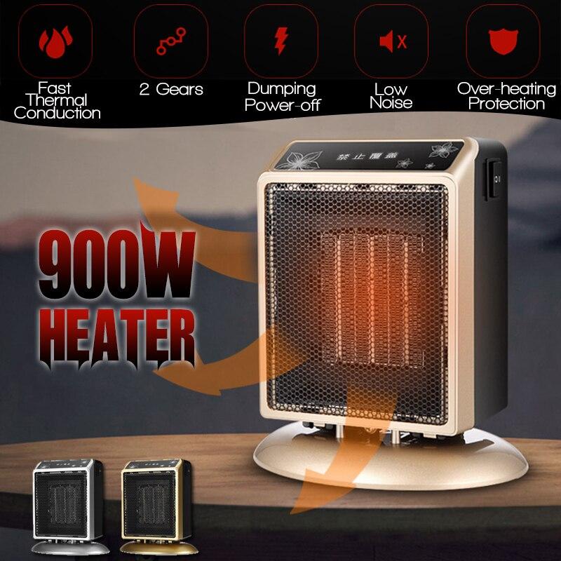 900 w 220 v Mini Chauffage Électrique À Air Chaud Ventilateur Réglable De Bureau Mur Portable Poêle Radiateur Machine À Chaud pour L'hiver la maison
