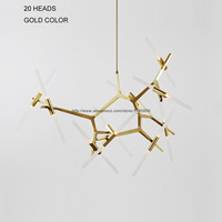 Modern LED Chandelier Nordic Branches Lighting Dining Room Restaurant Ceiling Fixtures Gold/Black