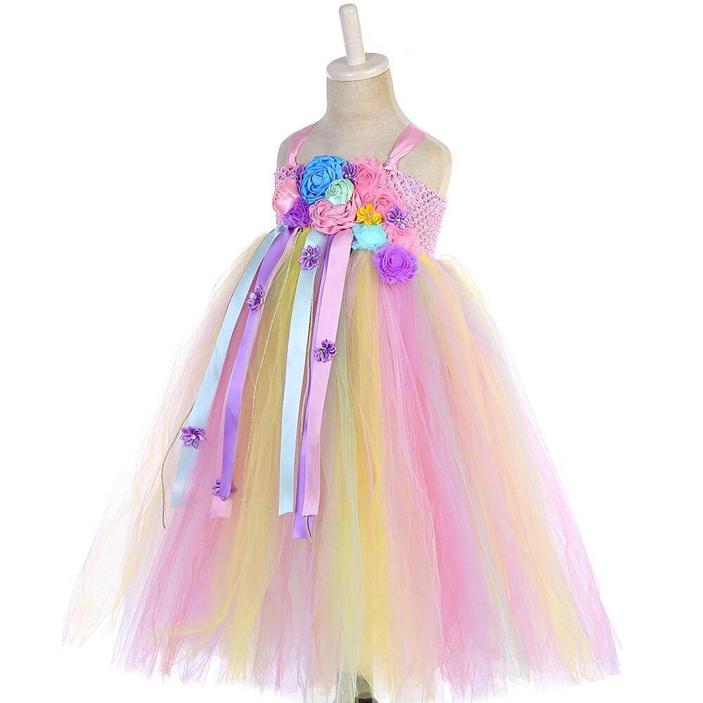 Girl Dresses Kids Long Unicorn Costume for Girls Ankle Length Sleeveless Flower Unicorn Party Dress Tutu Little Pony Ball Gown (11)