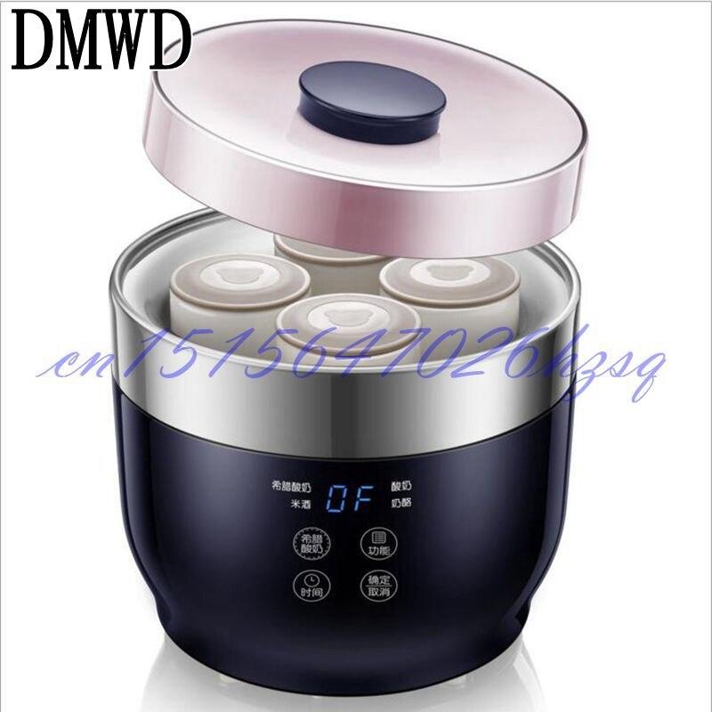 Dmwd микрокомпьютер греческий йогурт чайник четыре чашки-йорт многофункциональный для рисового вина/Йогурт/сыр 20 Вт из нержавеющей стали лай...
