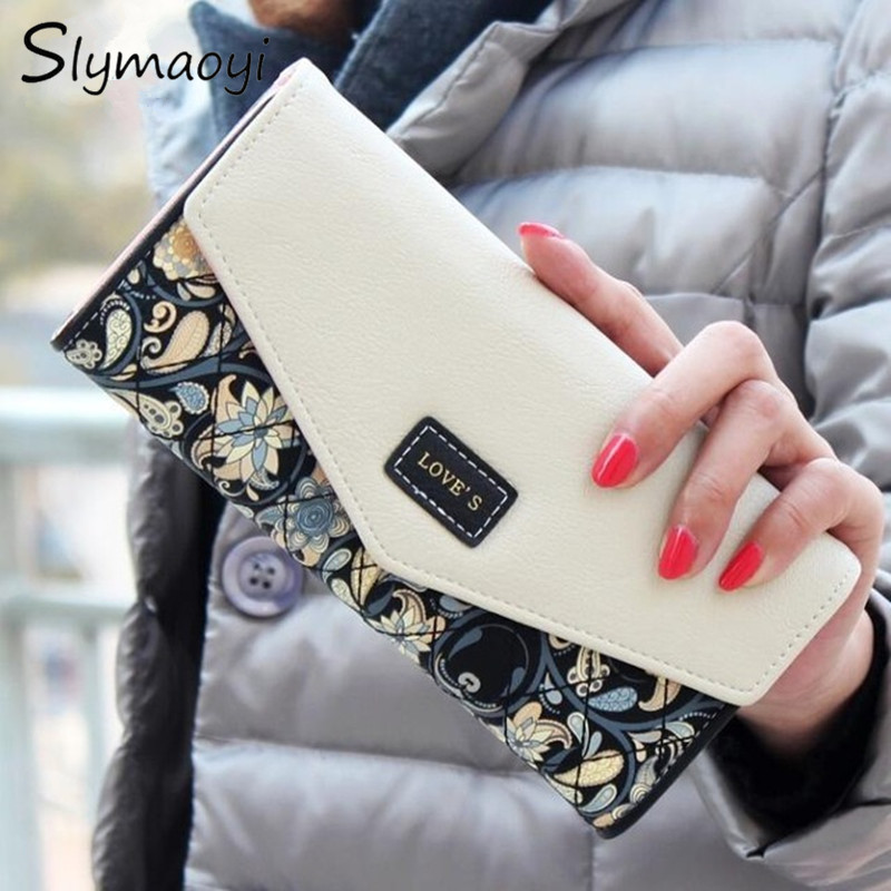 2016 New Fashion Women Wallets 5 Colors Floral Wallet Long Popular Portable Change Purse Delicate Casual Lady Cash Purse Wallet