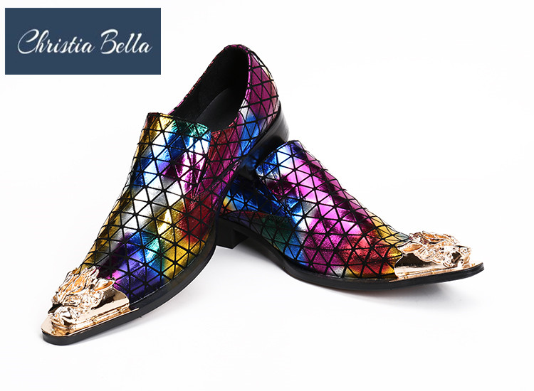 Christia Bella New Italian Fashion Designer Oxfords Shoes for Men Genuine Leather Colorful Plaid Dress Shoes Men Wedding FlatsChristia Bella New Italian Fashion Designer Oxfords Shoes for Men Genuine Leather Colorful Plaid Dress Shoes Men Wedding Flats