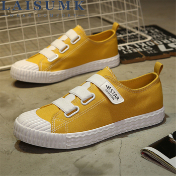LAISUMK Tide Fashion Summer New Ulzzang Candy Color Canvas MenS Board Shoes Students Comfortable Wild Casual