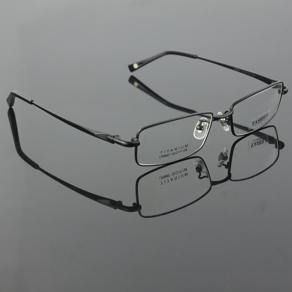a7cbf2fc5a2 Pure titanium men s full rim eyeglasses light glasses frame prescription  glasses YASHILU 9867 4 colors-in Eyewear Frames from Men s Clothing    Accessories