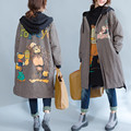 Plus Size 5XL 6XL 2016 Autumn Women Fashion Kawaii Cartoon Plaid Fleece Outwear Ladies Female Large Long Thick Loose Jacket Coat