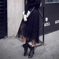 2017 Весна, лето, осень Европа и Америка Кружево юбка длинные перспектива талии газовая юбка-пачка плиссированные Юбки для женщин