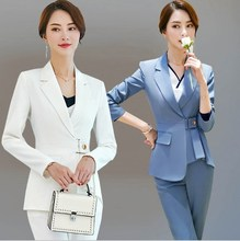 Hotel Uniform Designer Women Pants Suit Spring Autumn Tunic Blazer and Pants 2 Pieces Set Trouser Suit Office Ladies Work Outfit