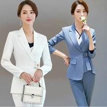 Hotel Uniform Designer Women Pants Suit Spring Autumn Tunic Blazer and Pants 2 Pieces Set Trouser Suit Office Ladies Work Outfit