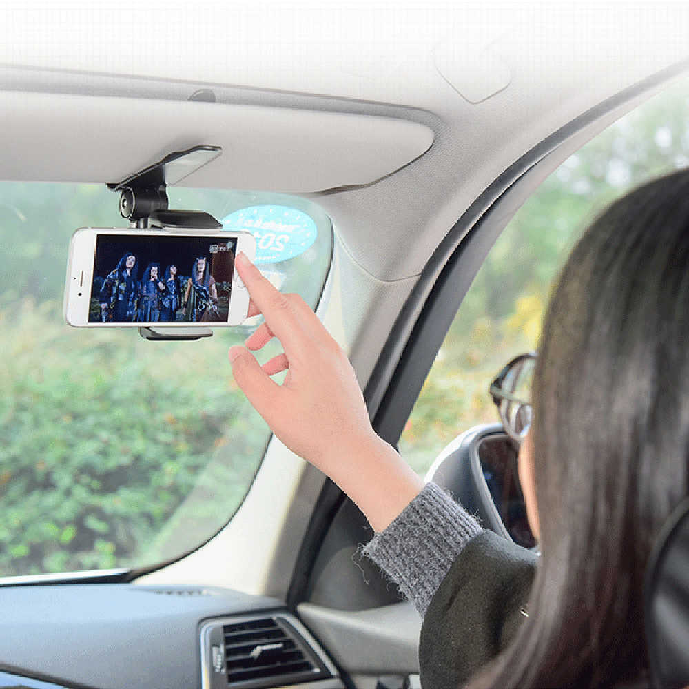 Universal Car Sun Visor Phone Holder 360 Degree Rotation Automobiles Navigation Mount Stand Clip Mobile Phone Bracket Accessory