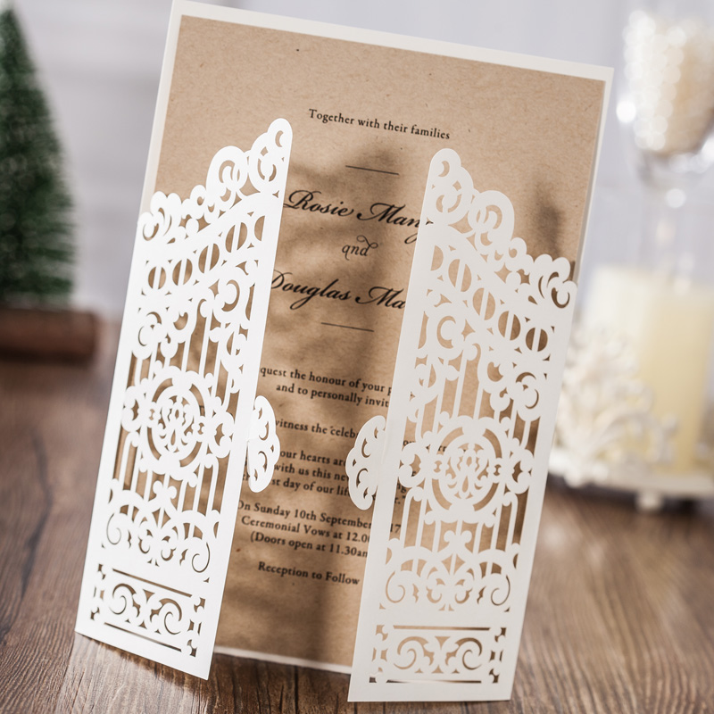 100PCS Laser Cut Wedding Invitations Cards with Ivory Open Door Hollow Flowers Design Cardstock for Wedding Party Favors CW6178