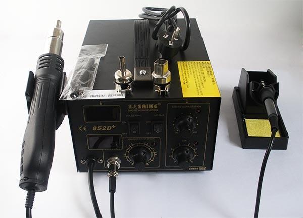 цена на Free shipping SAIKE 852D+ dual digital display hot air gun rework station soldering station combo welding tools Soldering Statio