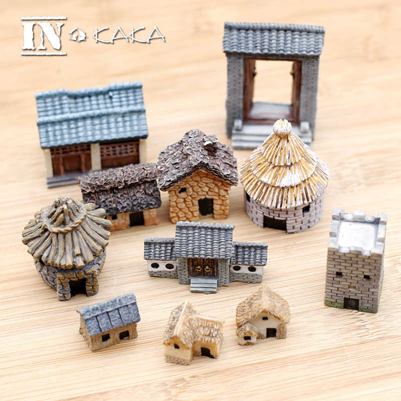 Chinese Antique Mini House Retro Building Micro Fairy Garden Figurines Miniatures/Terrarium Vintage Home Decor Ornaments DIY