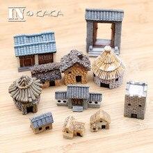 Chinês antigo mini casa retro edifício micro fadas jardim estatuetas miniaturas/terrário decoração da casa do vintage ornamentos diy