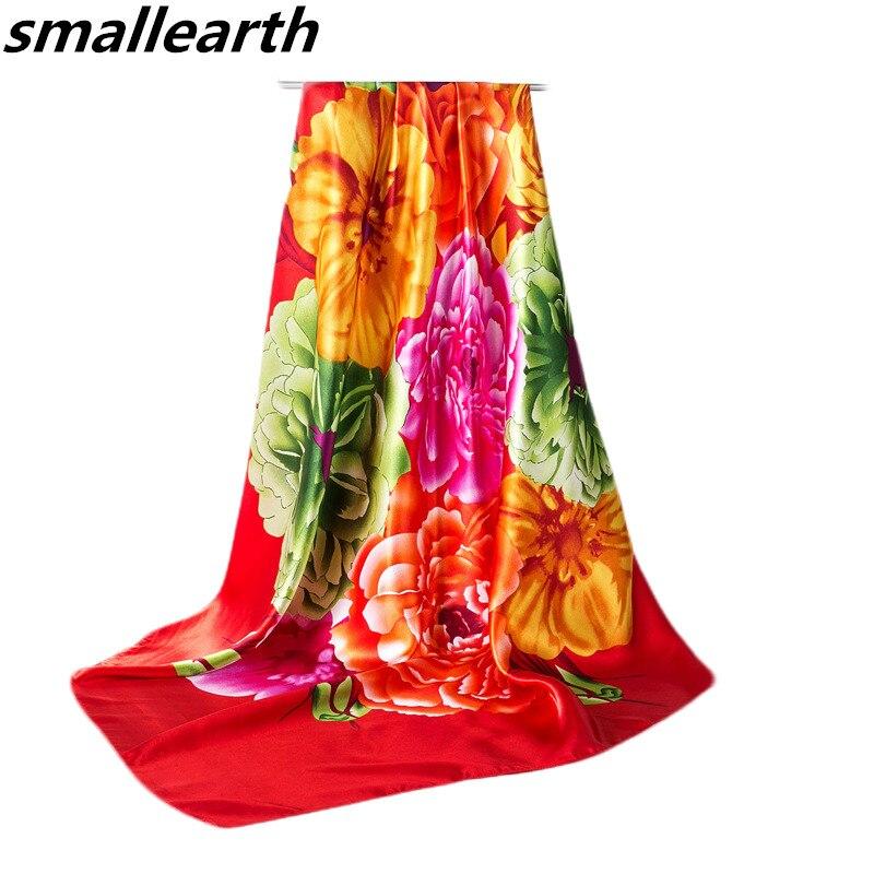 90*90cm Big Square Silk   Scarves   for Women Spring Summer Female Thin Silk   Scarf   Girls   Wraps   New Fashion Floral Printed Big Shawl