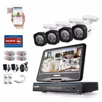 SANNCE 4CH 720P CCTV System 1080N DVR Built In 10 1 LCD Monitor With 4pcs 720P