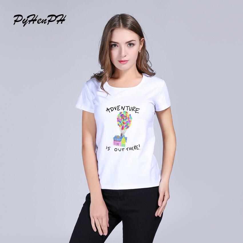 PyHenPH Приключения там печатных футболки Для женщин с коротким рукавом Повседневная шар Для женщин футболки женские Для женщин одежда