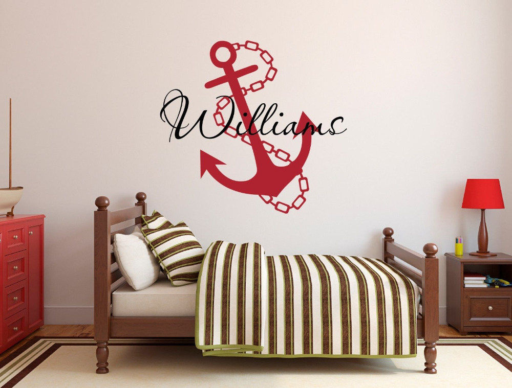 Personalized anchor name wall decal for boys nursery wall for Boys wall art