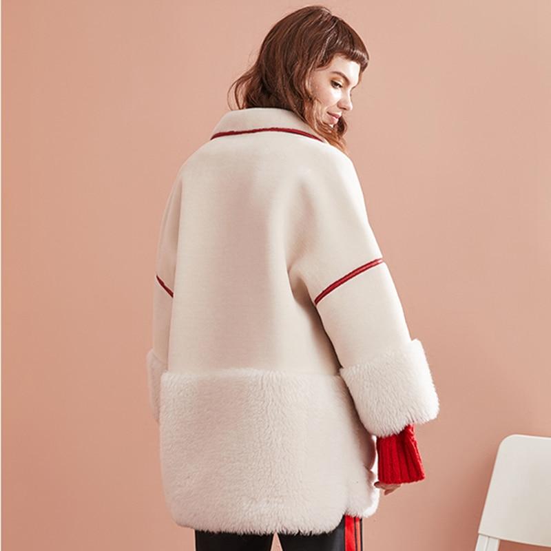 Femelle Doublure Réel Naturel Qualité D'agneau Manteaux De Pu D'hiver C425 White En Veste Femmes Supérieure Vestes Manteau Mouton Fourrure Cuir R7cRqX5wx8