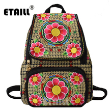ETAILL Yunnan Flowers Embroidered Backpack For Teenage Girls School Bags Daypack Chinese Ethnic Style Floral Women Bag Sac A Dos noenname chinese national style cow leather bag ladies and girls backpack tassel handmade ethnic flowers embroidery backpacks