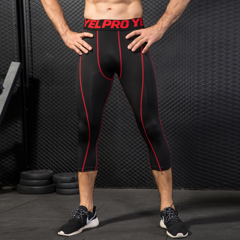 Hot Mens Compression Tights 3/4 Sports Fitness Basketball Trouser Jogging Slim Fit Black Pants Leggings Running mens girdle shorts