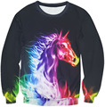 New Graphic Colorful Fire Neon Horse Rainbow 3D Print Sweatshirt Pullover Streetwear Unisex Slim Jumper Outerwear Tracksuit