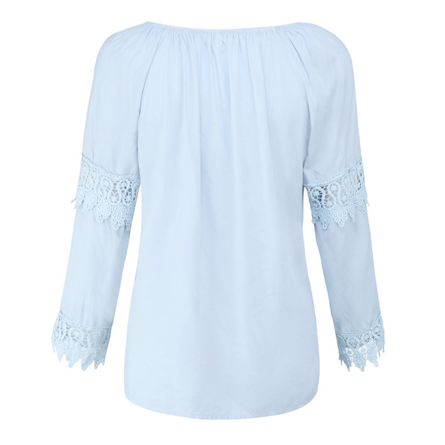Solid Boho Lace Top Blouse