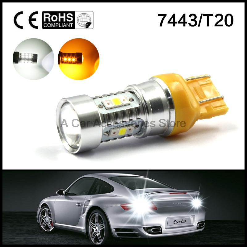 2pcs Dual Color 7443 7440 Switchback Light Bulbs High power 16W led White Amber