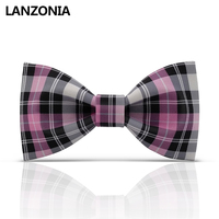 Lanzonia Funky Plaid Patterned Bow Tie For Men Novelty Different Types Of Tie Unisex Neckwear Womens Stylish Unique Bowtie