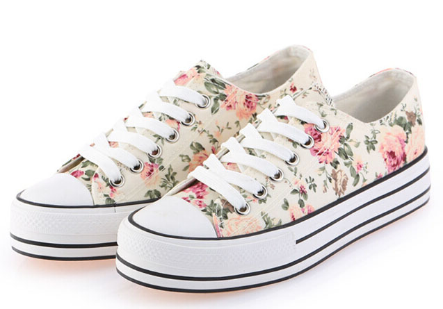 New Nice Spring Floral Platform Sneakers For Women Fashion ...