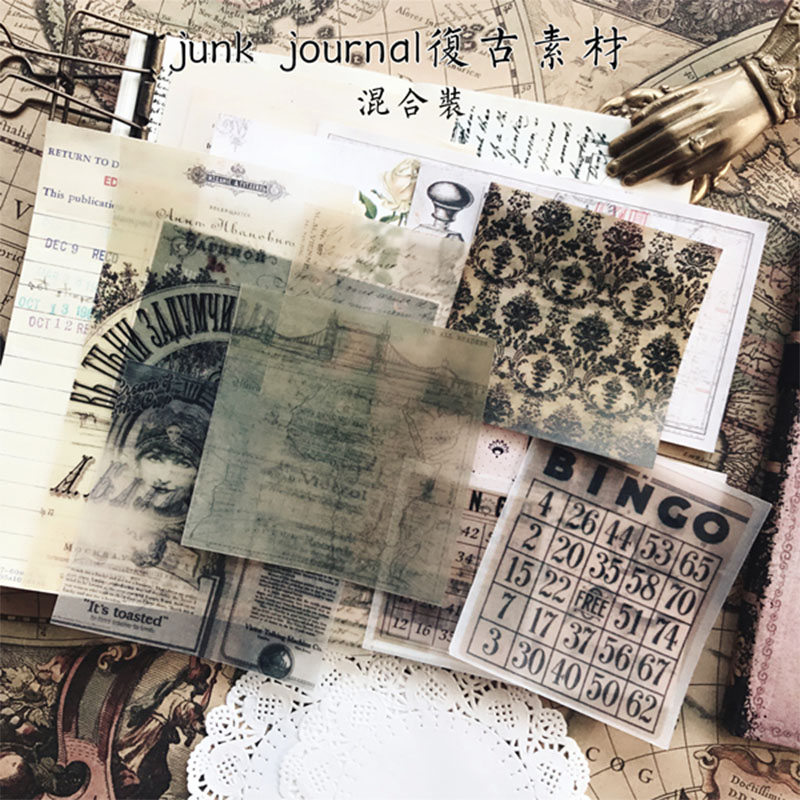 Vintage Letter Material Texture No Adhesive Used In DIY Scrapbooking Diary Album Journal Happy Planner Decorative Material Pack