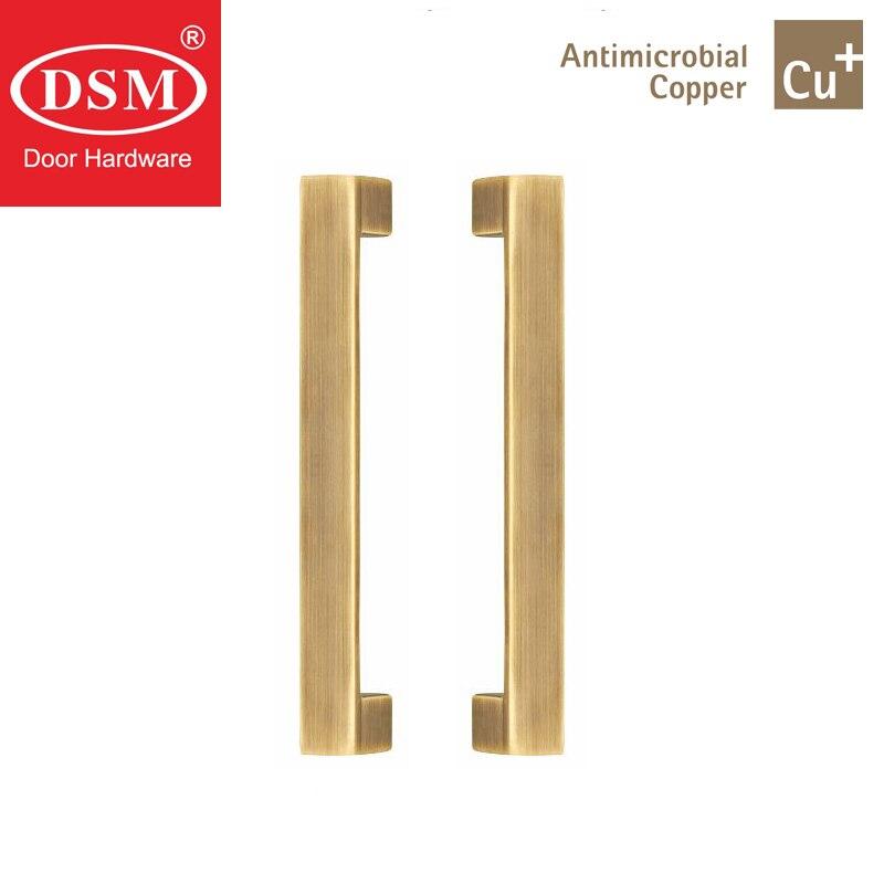 Poignées de porte d'entrée en laiton massif cuivre antimicrobien Cu + poignée de traction PA-316-25 * 25*235mm pour portes en bois/cadre/verre