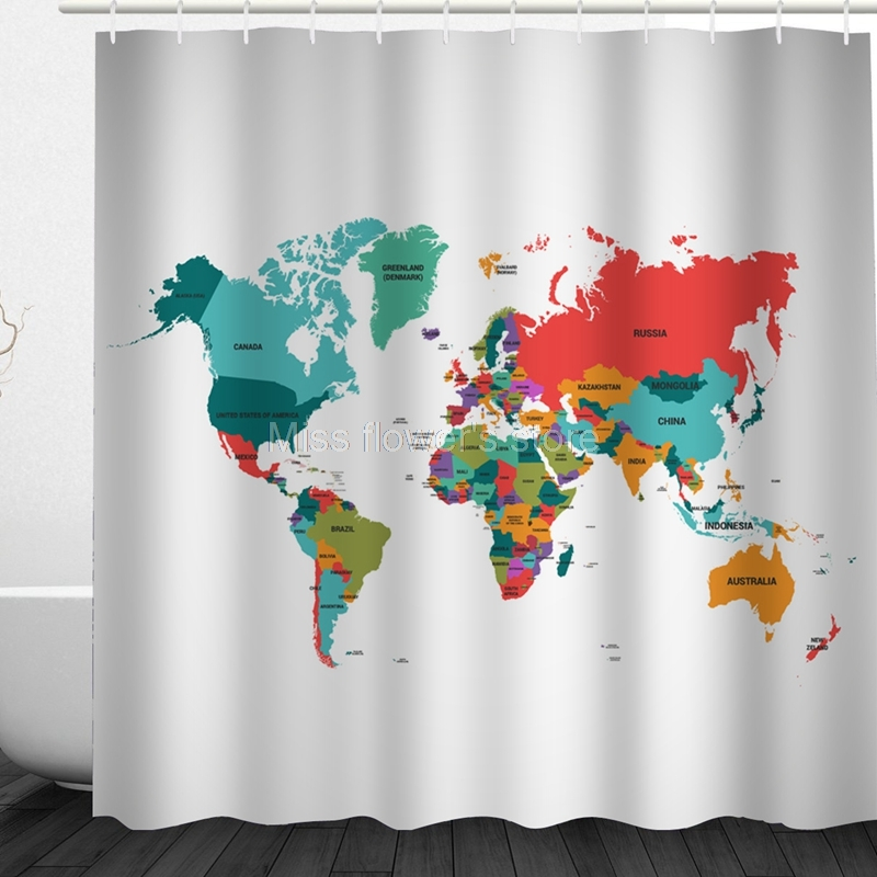 World Map Design Custom Shower Curtain Bathroom Waterproof Mildewproof Polyester Fabric With 12 Hooks