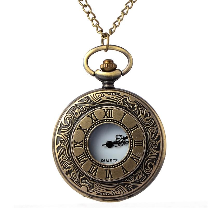 Vintage Bronze Steampunk Pocket Watch Roman Numerals Quartz Necklace Pocket & Fob Watches Chain Men Women Clock Relogio De Bolso