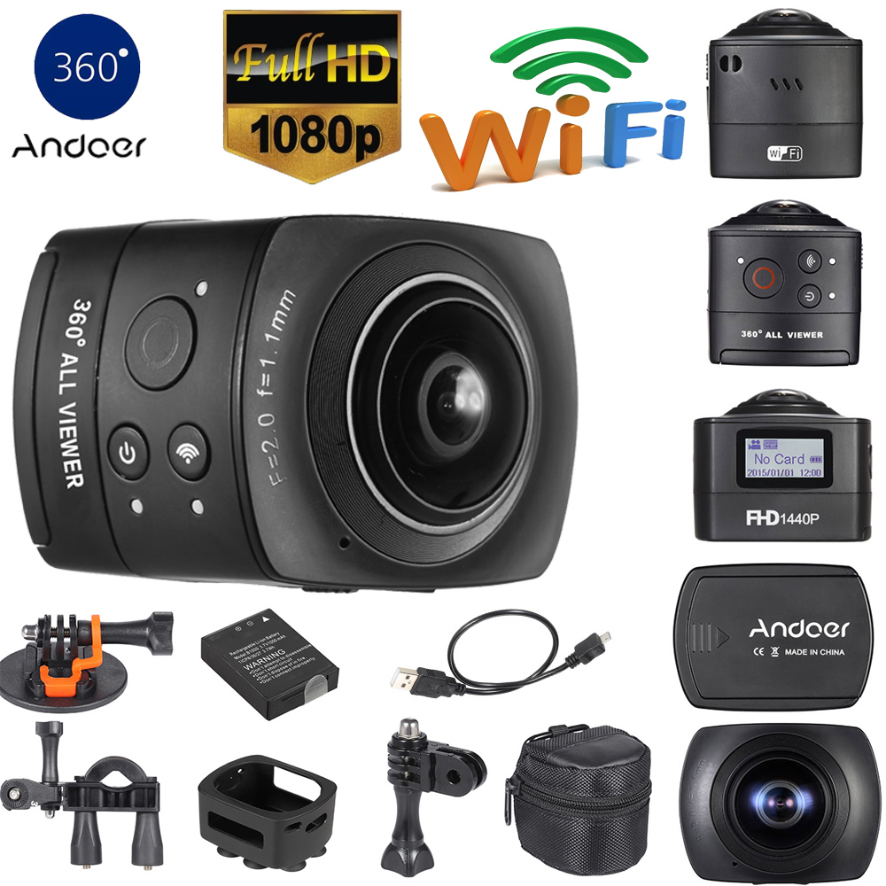 Buy Andoer 360 Degree Panorama Vr Camera Full Hd 1080p Wifi Action 8mp 220 Fisheye Wide Angle Lens Mini Camcorder Dv From