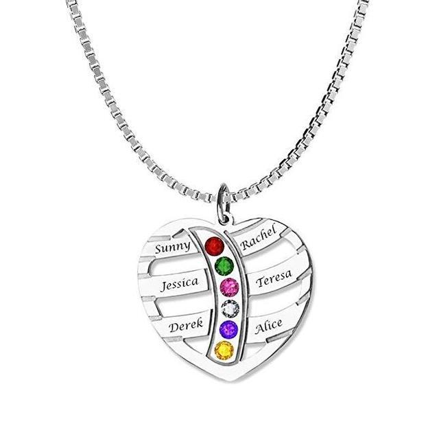 73bc371ac742 Corazón Birthstone collar nueva llegada exquisita Birthstone encargo nombres  mejor regalo para la mamá puede Dropshipping