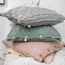 Home Decorative Yarn Knitted Cushion Covers For Sofa Square 18x18 Button Knitting Acrylic Couch Car Pillow