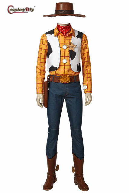 Cosplaydiy Toy Story Cowboy Sheriff Woody Outfit Costume With Stetson Hat  For Adult Men Cosplay Full Set Halloween Outfits 5f7bf74e7f3