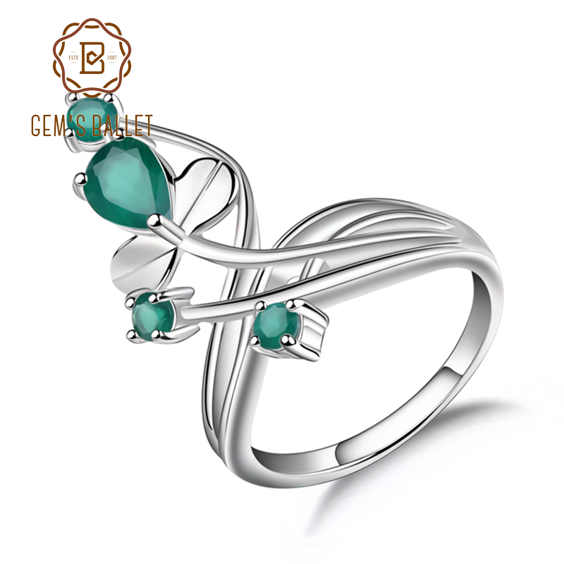 Gem's Ballet 0.97Ct Natural Green Agate Gemstone Ring Solid 925 Sterling Silver Flower Ring For Women Wedding Fine Jewelry