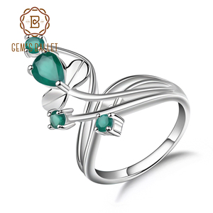 Image 1 - Gems Ballet 0.97Ct Natural Green Agate Gemstone Ring Solid 925 Sterling Silver Flower Ring For Women Wedding Fine Jewelry