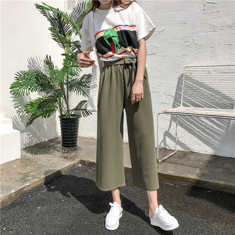 19 Women Casual Loose Wide Leg Pant Womens Elegant Fashion Preppy Style Trousers Female Pure Color Females New Palazzo Pants 21