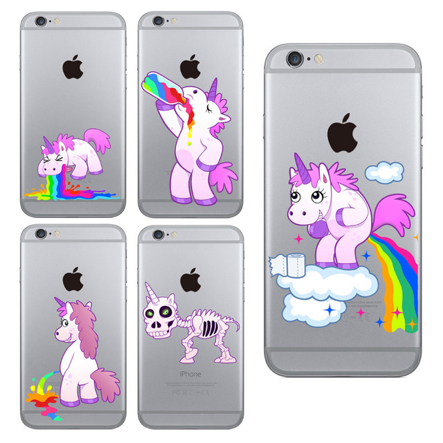 new styles a0013 08cf5 US $1.33 11% OFF For iPhone 5 5S SE 6 6S 7 Plus Case Smile Rainbow Unicorn  Skull Dog Clear Skin Soft TPU Cases Fundas Cell Phone Cover Capa Coque-in  ...