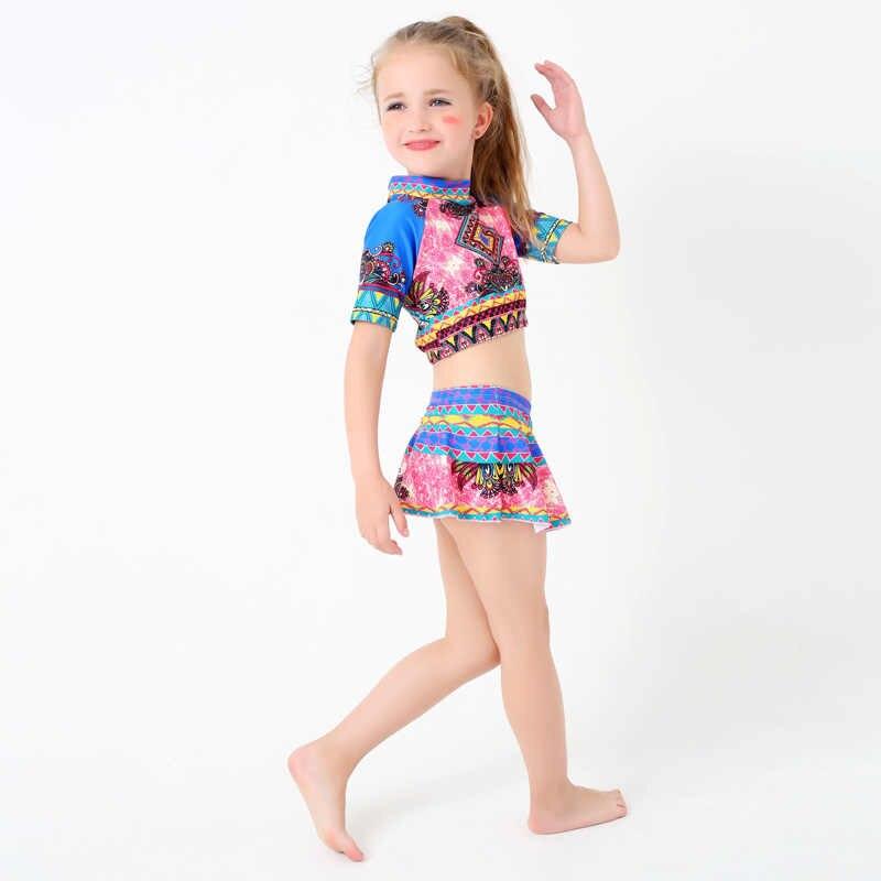 cb92d12d2 M&M Retro Bohemia Style Kid/Children Swimsuits New Cute Girls Two Piece  Beach Swim Wear