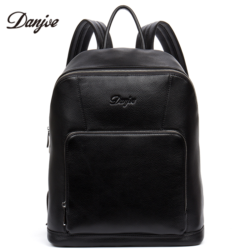 DANJUE new arrival men genuine leather backpacks brand high quality real leather travel backpack black color business laptop bag s c cotton brand backpack men good quality genuine leather