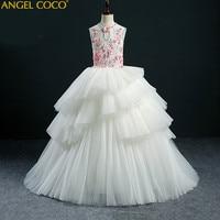 Высококачественное платье с вышивкой на заказ для девочек платье принцессы детская праздничная одежда кружевное свадебное платье с вуалью