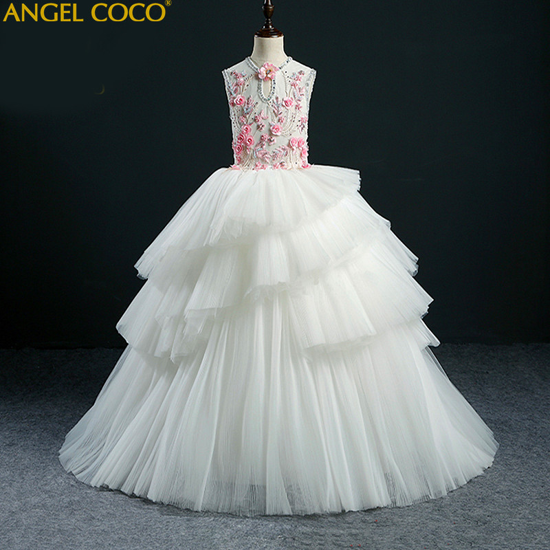 High-End Custom Embroidery Girl Dress Princess Dress Children Party Wear  Lace Veil Flower Girl Wedding Dress Baby Girls Gown 104ad5bedaa