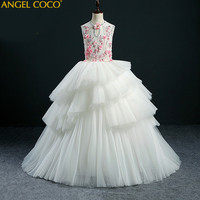 High End Custom Embroidery Girl Dress Princess Dress Children Party Wear Lace Veil Flower Girl Wedding Dress Baby Girls Gown
