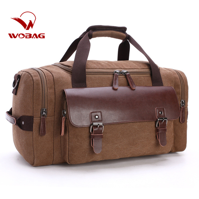 Handbag Duffle-Bag Travel-Bags Genuine-Leather Canvas Large-Capacity Fashion New Casual